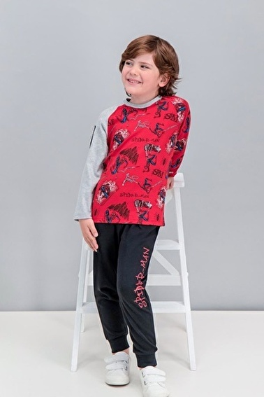 Spider-Man Spider Man Lisanslı Grimelanj Erkek Çocuk Pijama Takımı Kırmızı